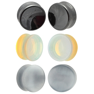 Set of 3 Pairs Stone Concave Plugs - Hematite, Opalite, Grey Cat Eye