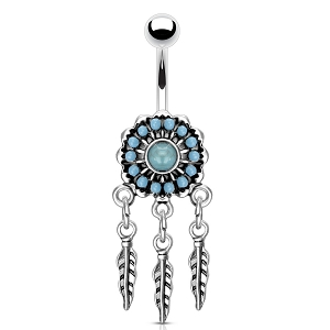 316L Surgical Steel Navel Ring With Turqoise Paved Dream Catcher