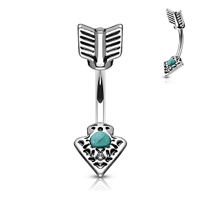 316L Surgical Steel Navel Ring With Turqoise Set Tribal Arrow