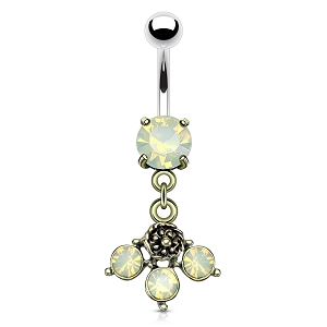 316L Surgical Steel Navel Ring With Opalite Crystal Set Dangle
