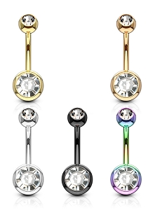 Set of 5 316L Surgical Steel Navel Rings With Gem Set