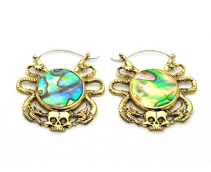 Handmade Brass And Abalone With Skull And Serpents Hoop Earrings