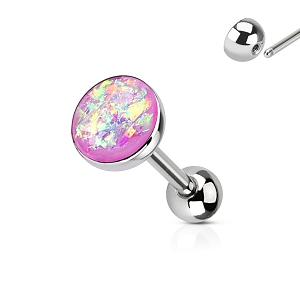 316L Stainless Steel Tongue Barbell With Imatation Opal Tops