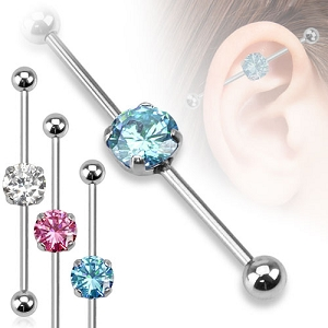 316L Stainless Steel Industrial with Round CZ Gems