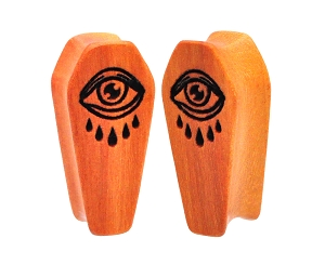 Wood Coffin Plugs with Laser Engraved Eye