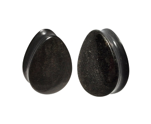 Golden Obsidian Stone Convex Teardrop Plugs