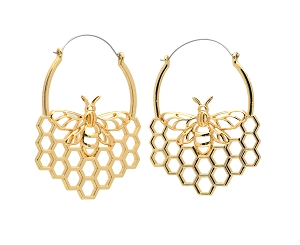 Hoop Earrings with Gold Plated Bee and Honeycomb Design