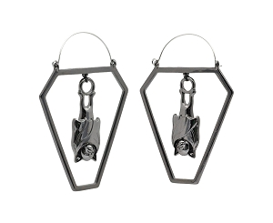 Hoop Earrings with Black Bat in Cutout Coffin