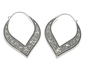 Hoop Earrings with Swirl