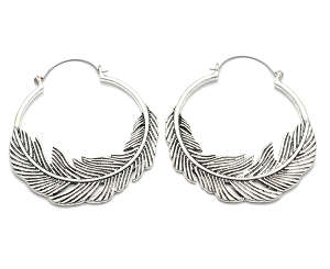 Hoop Earrings with Feather
