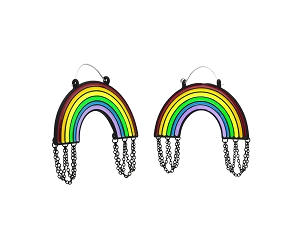 Hoop Earrings with Enamel Rainbow and Black Chains