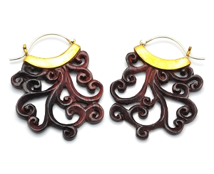 Hoop Earrings with Brass and Sono Wood Swirl Pattern