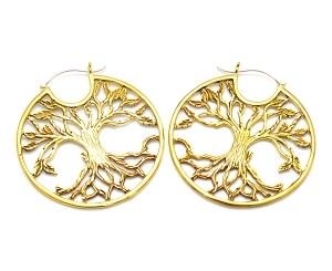 Hoop Earrings with Brass Tree of Life