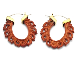 Hoop Earrings with Saba Wood Oval Floral Dangle