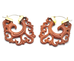 Hoop Earrings with Saba Wood Floral Swirls