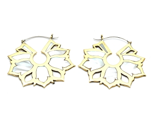 Brass Hoop Earrings with Mother of Pearl Flower Petal Inlays