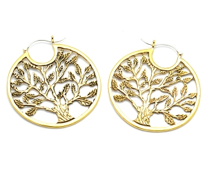 Brass Hoop Earrings with Tree of Life Style 2