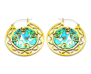 Hoop Earrings with Round Brass and Abalone Inlay