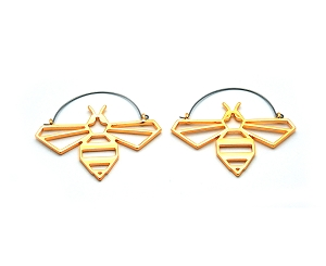 Hoop Earrings with Golden Bee