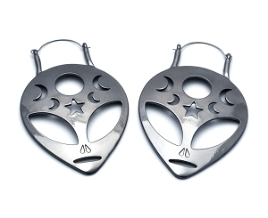 Hoop Earrings with Alien Head and Cut Out Stars and Moons