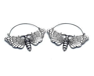 Hoop Earrings with Death Moth