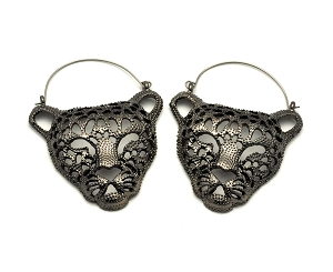 Hoop Earrings with Panther Head