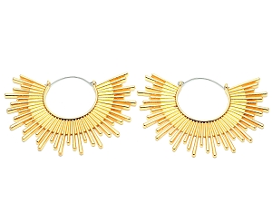 Golden Sunburst Hoop Earrings