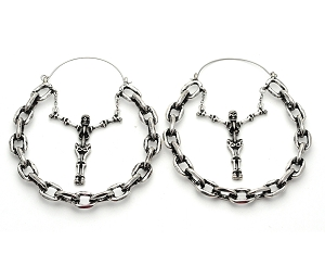 Chain with Skeleton Hoop Earrings