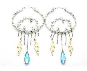 Cloud with Gem and Lightning Bolts Hoop Earrings