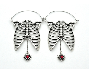 Skeleton with Hanging Spiked Heart Hoop Earrings