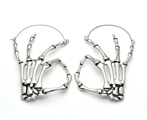 OK Skeleton Fingers Hoop Earrings