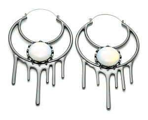 Drip With Half Moon And Opalite Stone Hoop Earrings