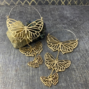 Gold Steel Triple Butterfly Hoop Earrings