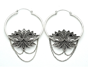Lotus With Chain Hoop Earrings