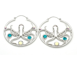Octopus With Gems And Opalite Stone Hoop Earrings