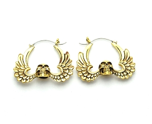 Handmade Brass Skull With Wings Hoop Earrings