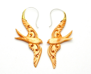 Hand Carved Crocodile Wood Swallows Hoop Earrings