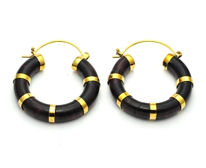 Handmade Sono Wood Rings With Gold Accents Hoop Earrings