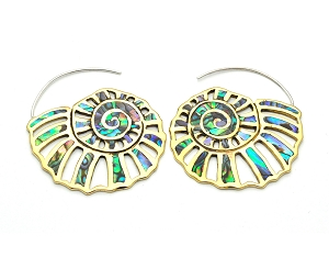 Handmade Brass Shell With Abalone Inlay Hoop Earrings