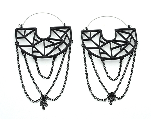 Black Geometric Hoop With Knotted Chain Hoop Earrings