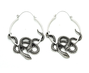 Steel Tangled Snake Hoop Earrings