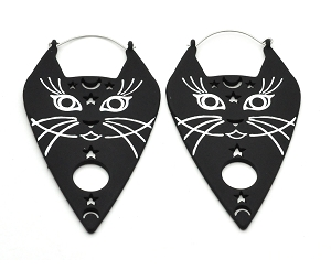 Black Cat Face Planchette Hoop Earrings