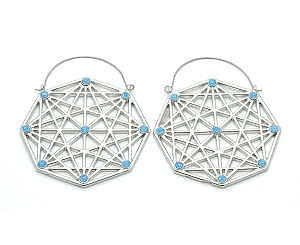 Geometric Design With Turquoise Accents Hoop Earrings