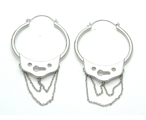 Steel Handcuff With Chains Hoop Earrings