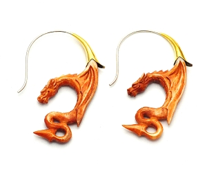 Crocodile Wood Dragon Hoop Earrings