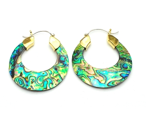 Handmade Abalone Semi-Circle Hoop Earrings