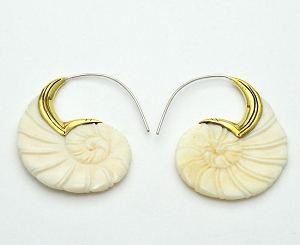 Handmade Bone Spiral Shell Hoop Earrings