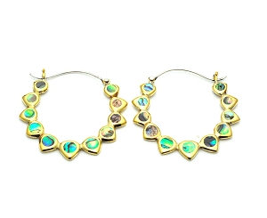 Handmade Brass Droplet Design With Abalone Hoop Earrings