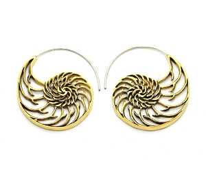 Handmade Brass Spiral Shell Hoop Earrings