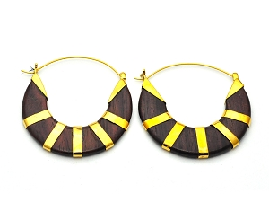 Handmade Sono Wood Semi-Circle With Brass Accents Style 1 Hoop Earrings